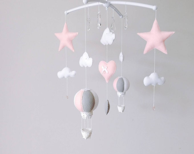 Featured listing image: Unique Baby Mobile, Musical Cot Mobile, Hot Air Balloon, Crystal Mobile, Star Nursey Decor, Cloud Mobile, Pink Nursery Decoration, Vegan
