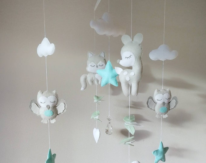 Featured listing image: Deer Baby Mobile, Forest Fawn Baby Mobile, Grey and Mint Nursery, Music Cot Mobile, Felt Nursery Decoration, Unisex Kids Room Decor, Vegan