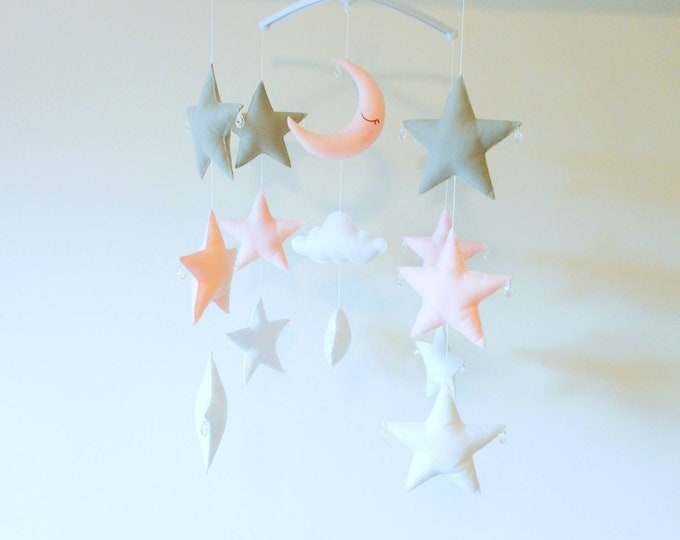 Cot Baby Mobile - Star Nursey Baby felt Mobile - Moon Stars Cloud Mobile - Pink Grey White Nursery - Elegant Mobile - Vegan Friendly