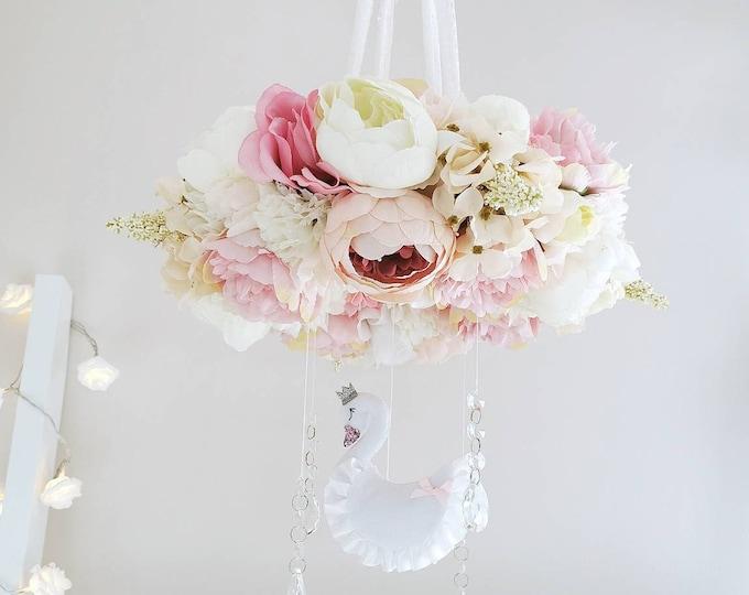 Magical Swan Flower Mobile, Luxury Baby Mobile, Boho Nursery Decor, Whimsical Nursery, Floral Mobile, Baby Girl Room, Peony Decoration