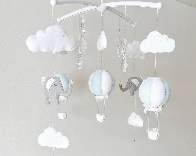 Blue White Grey Baby Mobile, Elephant Nursery Decor Cot Mobile, Elephant Hot Air Balloon Nursey , Crystal Nursery Decoration, Vegan Friendly