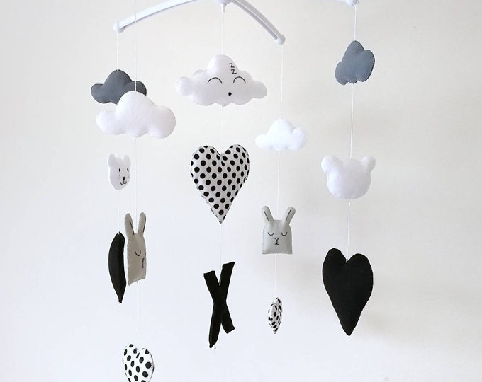 Monochrome Baby Mobile, Musical Cot Mobile, Hanging Nursery Decoration, Black And White, Modern Mobile, elegant Mobile