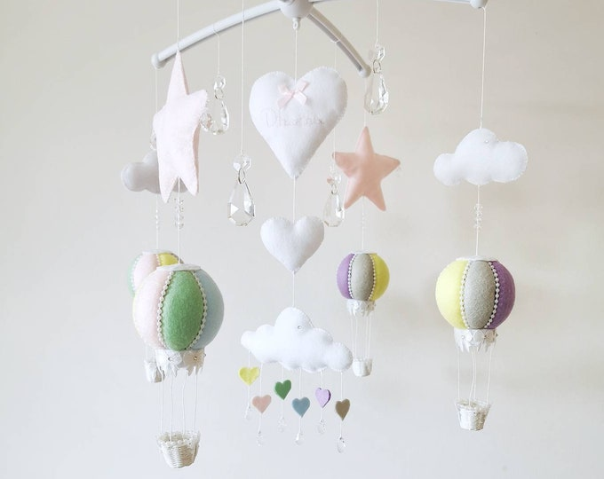 Rainbow Baby Mobile, Hot Air Balloon Mobile, Crystal Mobile, Travel Nursey Decoration, Cloud Mobile, Grey Pastel Nursery, Elegant, Vegan