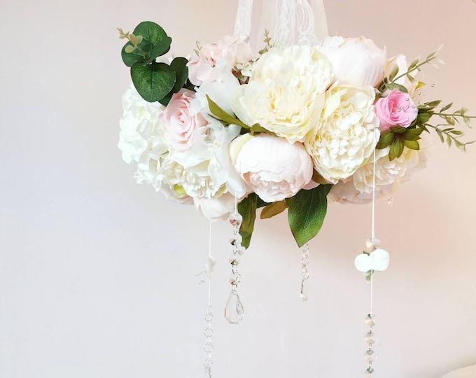 Magical Flower Mobile, Luxury Baby Mobile, Boho Nursery Decor, Whimsical Nursery, Floral Mobile, Baby Girl Room, Peony Decoration, Crystal