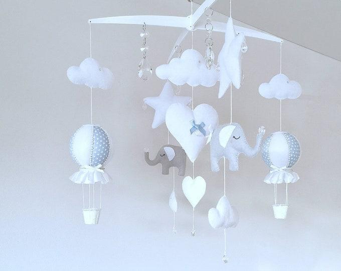 Blue White Grey Baby Mobile, Elephant Nursery Decor Cot Mobile, Luxury Elephant Hot Air Balloon Nursey , Crystal Nursery Decoration