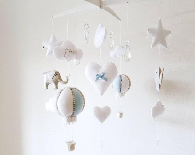 Elegant Elephant Mobile, White Grey blue Baby Mobile, Cloud Nursery Decor, Crystal Cot Mobile, Hot Air Balloon, Newborn Gift, Vegan Friendly