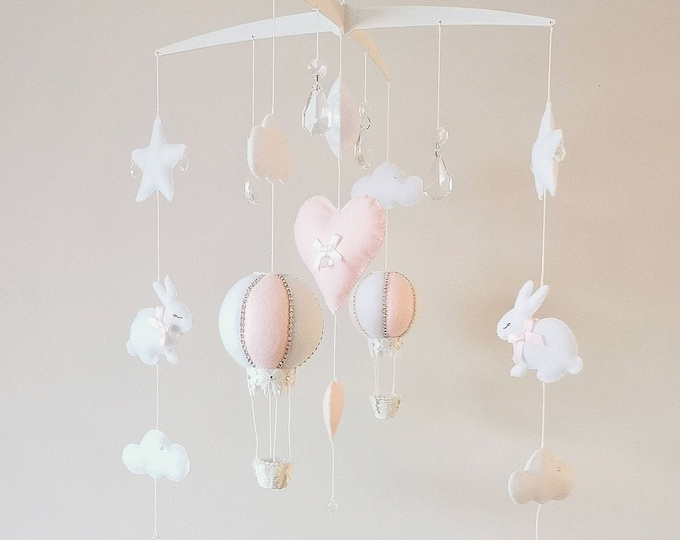 Pink Bunny Baby Mobile, Rabbit Nursey Decoration, Baby Girl  Mobile, White Pink Nursery, Hanging Mobile, Elegant Nursey, Crystal Mobile