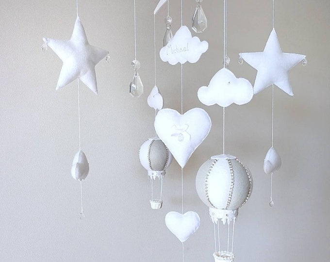 Featured listing image: White Grey Baby Mobile, Cloud Nursery Decor, Crystal Cot Mobile, Hot Air Balloon, Newborn Gift, Elegant Nursery Decoration, Vegan Friendly