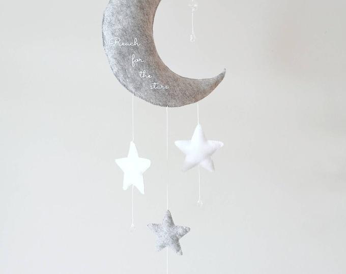 Grey Nursery Decoration, Personalised Baby Gift, Moon Decor, Whimsical Nursery, Baby Boy Girl Mobile, Newborn Gift, Babyshower Present