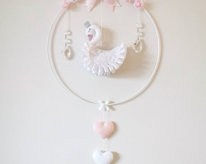 Swan Princess Nursery Decoration, Swan Baby Gift, Swan Mobile, White Pink Nursery, Wall Hoop, Elegant Nursey, Crystal Mobile, Boho Decor
