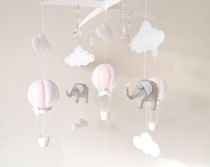 Grey Pink White Baby Mobile, Elephant Nursery Decor Cot Mobile, Hot Air Balloon Nursey , Crystal Nursery Decoration, Monochrome, Vegan