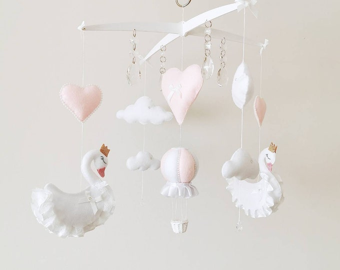 Swan Princess Baby Mobile, Swan Nursey Decoration, Swan Mobile, White Pink Nursery, Hanging Mobile, Elegant Nursey, Crystal Mobile, Gift