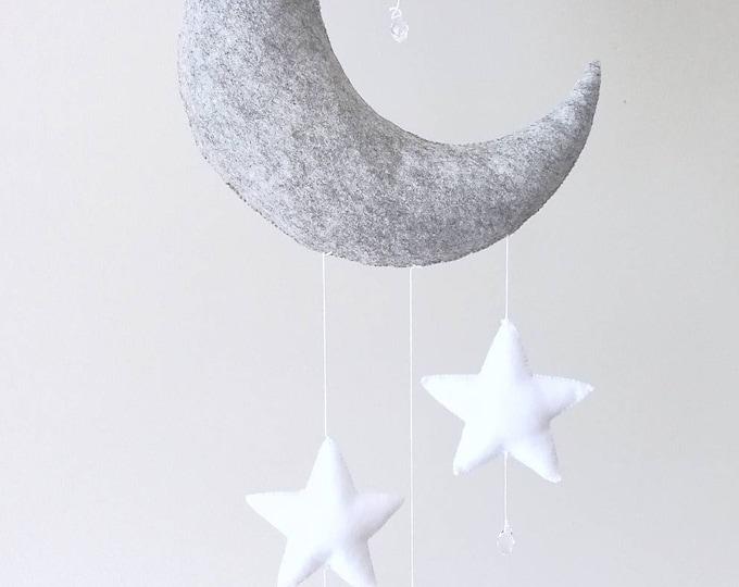 Grey Nursery Decoration, Moon Decor, Whimsical Nursery, Baby Boy Girl Mobile, Elegant Baby Gift, Newborn Gift, Babyshower Present, Unique
