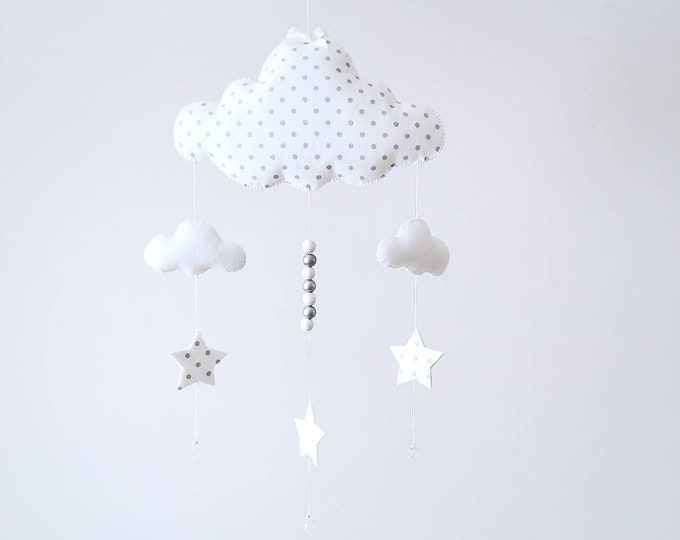 Grey and white Cloud Nursery, Baby Room Decor, Canopy Mobile, Baby Mobile, Cloud Home Decor, Mini Polka Dots, Elegant Nursery Decoration