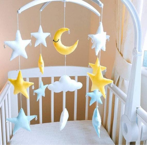 Star Cot Mobile, Baby Mobile, Star Mobile , Moon Cloud Nursery Decoration, Crystal Mobile, sensory Mobile, Cloud Mobile, Vegan Friendly