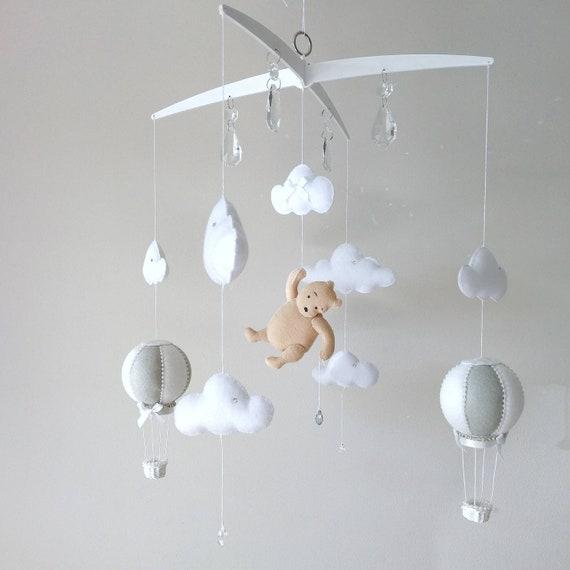 Grey White Baby Cot Mobile, Cloud Nursery Decor, Hot Air Balloon Mobile, Music Mobile, Classic Winnie The Pooh, Monochrome Design, Vegan