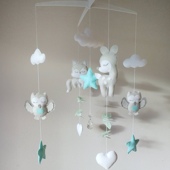 Deer Baby Mobile, Forest Fawn Baby Mobile, Grey and Mint Nursery, Music Cot Mobile, Felt Nursery Decoration, Unisex Kids Room Decor, Vegan