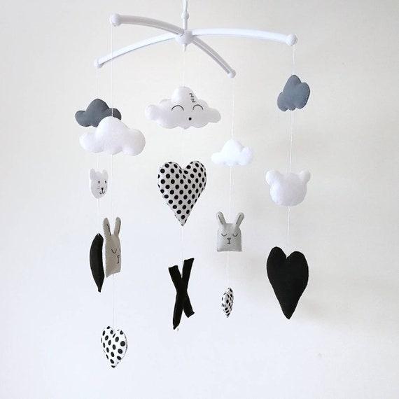 Monochrome Baby Mobile, Hanging Nursery Decoration, Black And White, Modern Mobile, Vegan Friendly