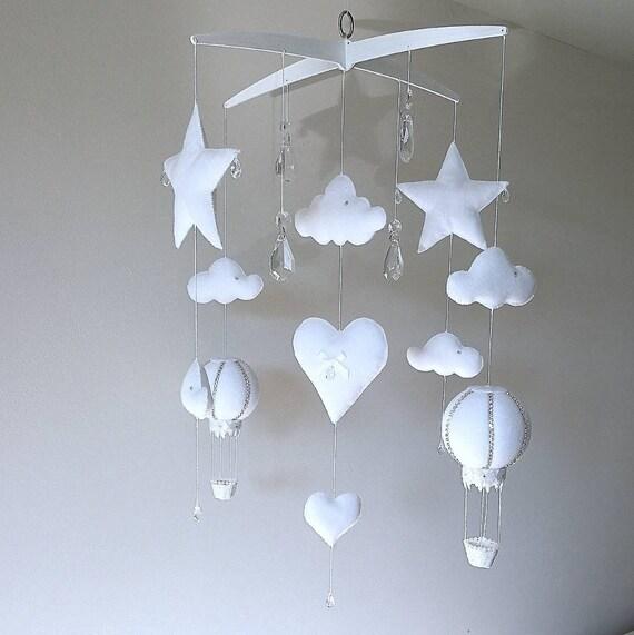 Luxury White Baby Mobile, Cloud Nursery Decor, Crystal Cot Mobile, Hot Air Balloon, Newborn Gift, Elegant Nursery Decoration, Musical Mobile