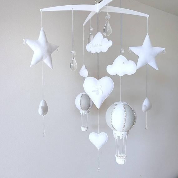 White Grey Baby Mobile, Cloud Nursery Decor, Crystal Cot Mobile, Hot Air Balloon, Newborn Gift, Elegant Nursery Decoration, Vegan Friendly