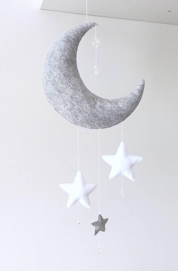 Grey Marl Hanging Moon decoration, Crystal Moon Baby Mobile