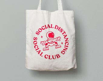 Social Distancing • Social Club Tote Bag with vinyl print, Funny, Lockdown 2020, Isolation, Coronavirus Tee
