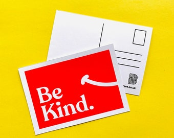 Be Kind - Screen Printed Postcard - typography, cute, retro, positivity, quote, kindness
