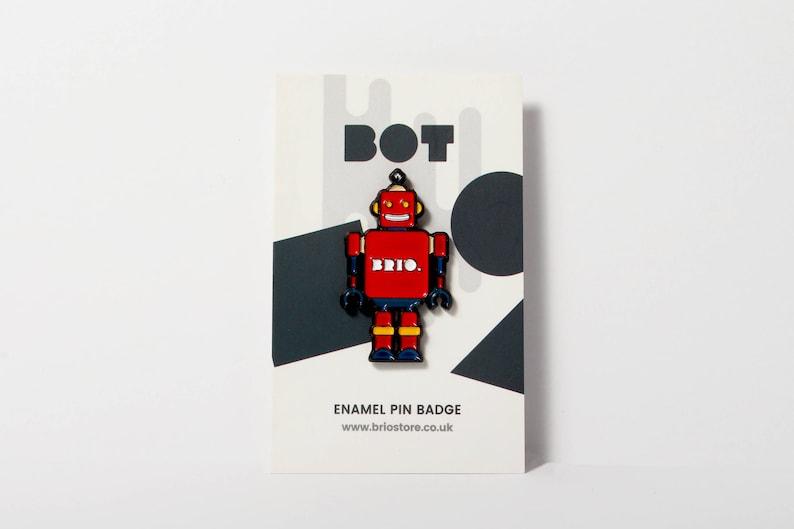 SECONDS SALE  Robot Enamel Pin Badge image 0