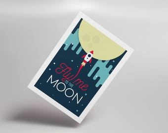 Fly Me to the Moon Postcard, Frank Sinatra, Nasa Apollo, Rocket, Inspirational Quote, Typography, Wall Art, Space