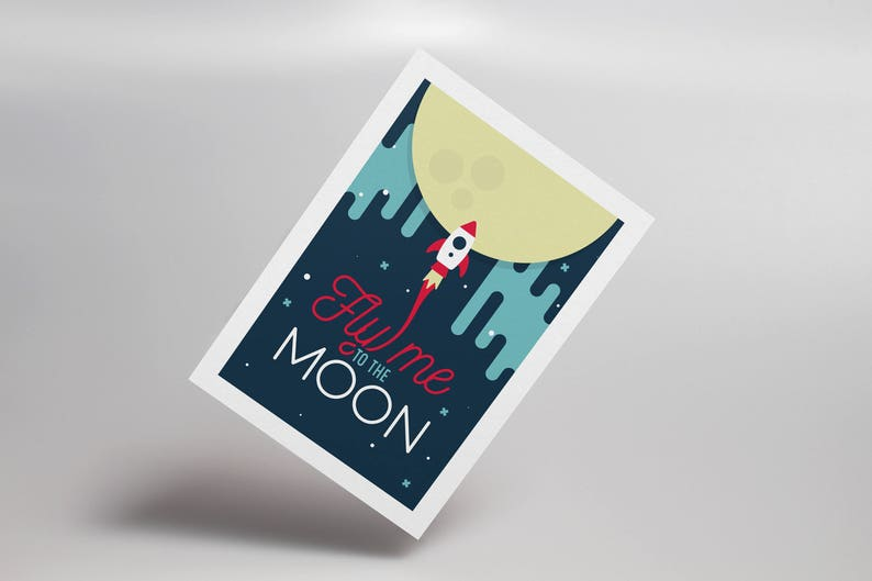 Fly Me to the Moon Postcard Frank Sinatra Nasa Apollo image 0