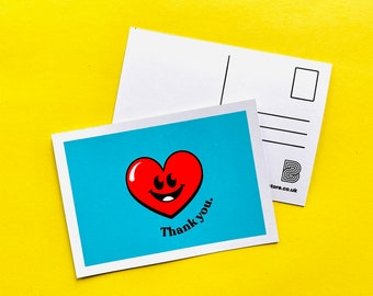 Thank You - Screen Printed Postcard - typography, cute, retro, positivity, kindness