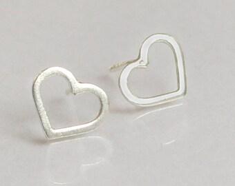 Heart Stud Earrings, Open Heart Earrings, Silver Heart Earrings, Minimalist Earrings, Dainty Heart Earrings, Dainty Stud Earrings For Her