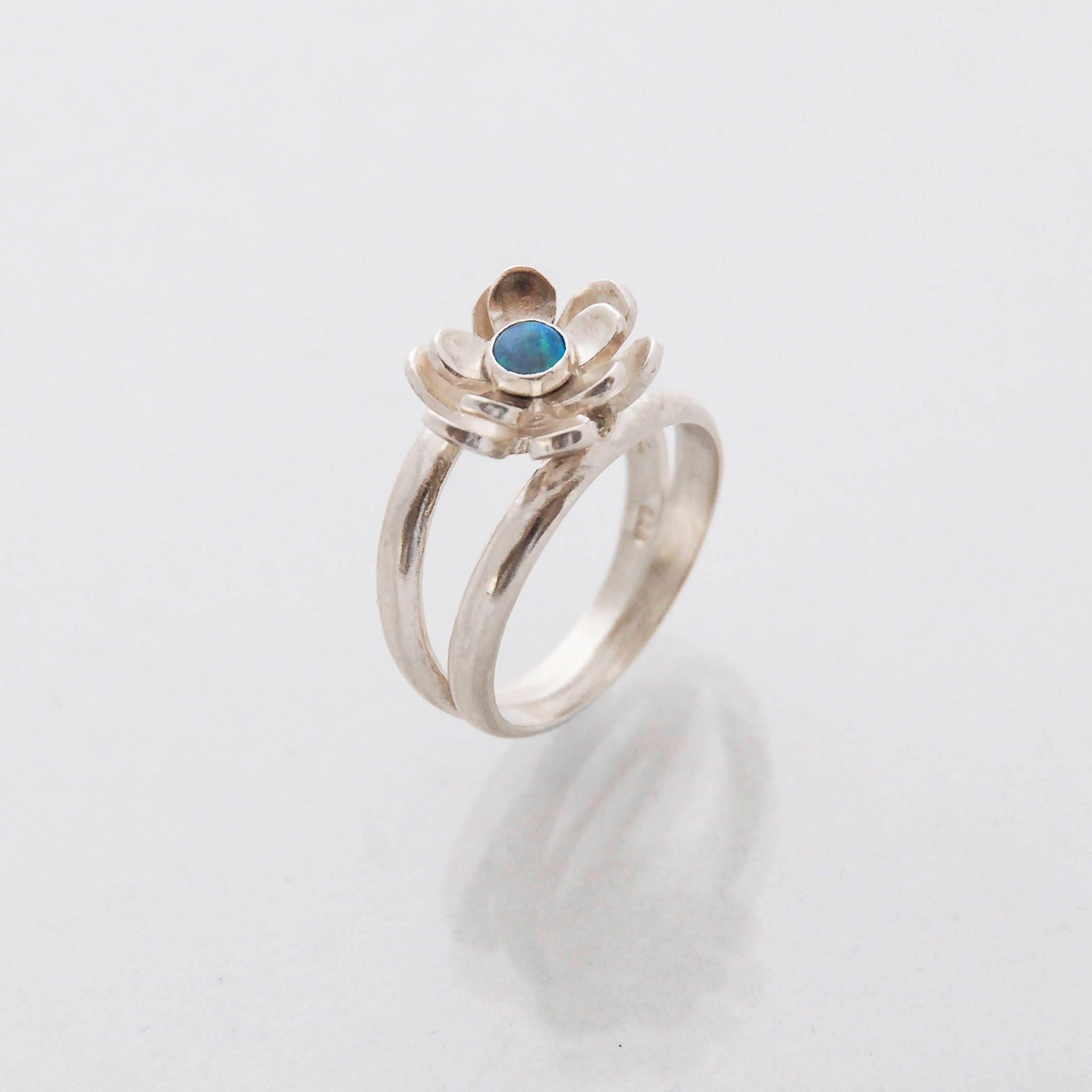 b152a174e5cb3 Lotus Flower Ring For Women, Sterling Silver Ring, Blue Stone Ring, Opalite  Ring, Handmade Ring, Casual Ring, Delicate Ring, Everyday Ring
