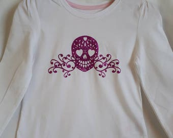 Girls sparkly skull design t-shirt