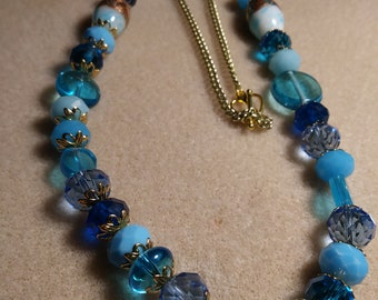 Blue greens,and teal necklace