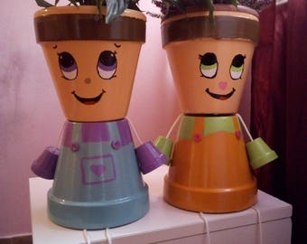 Boy Flower Pot/Fawale pot people/Birthday gift/Indoor Furniture