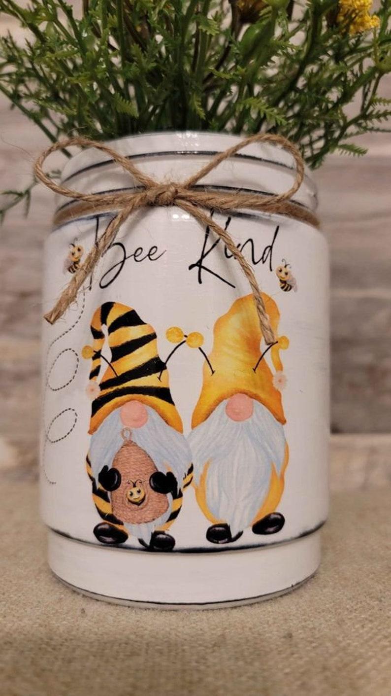 Decorative handcrafted Bee kind glass jar/vase image 1