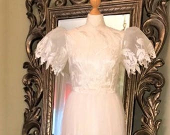 Dramatic Embroidered Vintage Wedding Gown- UK Size 10, USA Size 6. White  with Embroidered sheer Tulle, Satin Underlayer- Lovely Hem Detail