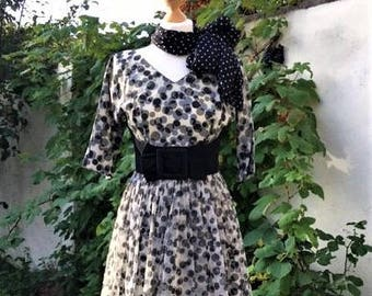 Iconic Black and White Spotty/Dotty print Vintage 1950's Swing Dress. UK Size 8-10, USA Size 4-6- Genuine, Good Condition Full Circle Skirt.