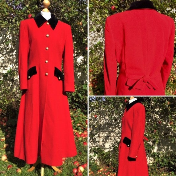 1980s Red Frock Coat, M. Vintage Red Riding Coat,