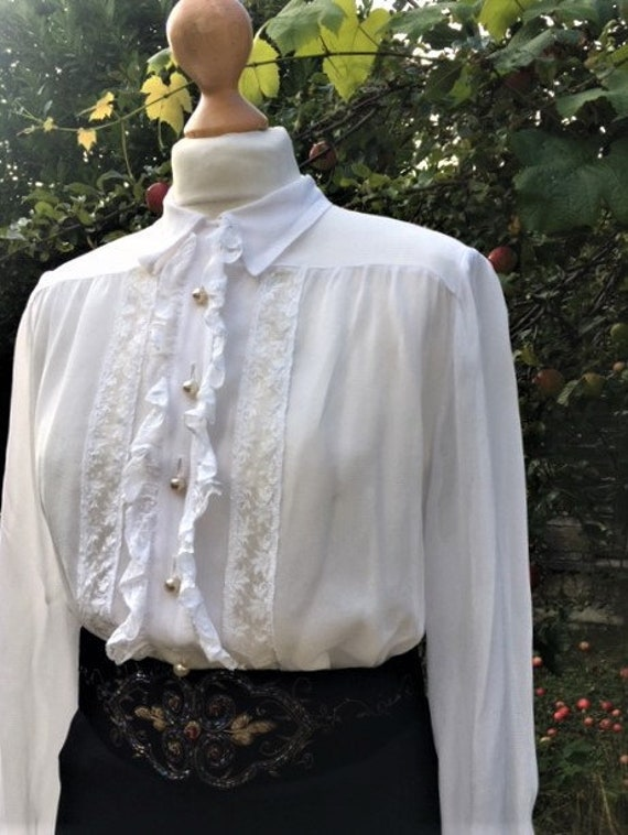 1930's Lace Ruffle Blouse S ,Romantic Frill front