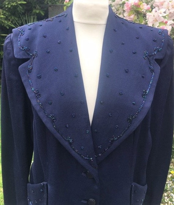 1940's Evening Jacket UK12-14,US 8-10.WW2 Midnight