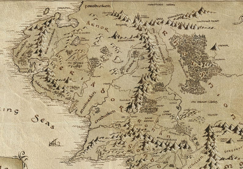 Mittelerde Karte Herr Der Ringe.Mitte Earth Karte Mittelerde Plakat Tolkien Karte Herr Der Ringe Poster Herr Der Ringe Hobbit Kunstposter Fantasy Karten Geschenk Poster