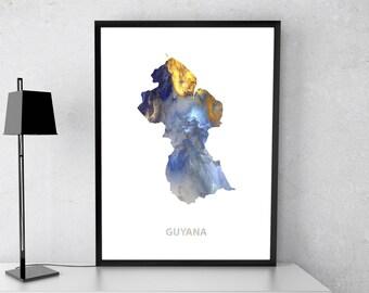Guyana poster, Guyana art, Guyana map, Guyana print, Gift print, Poster