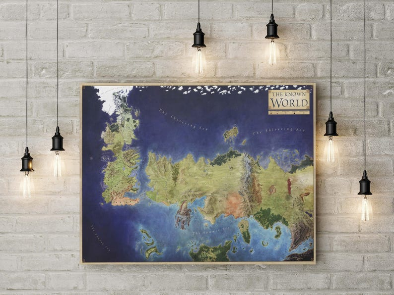 Game Of Thrones Map Seven Kingdoms Westeros Winterfell Etsy