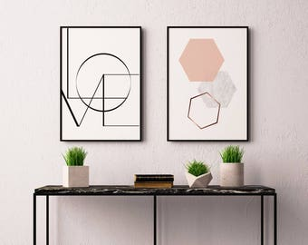 Hexagon graphic print, gift for her, wall print, framed print, home print, home decor, A3 print, Wall art prints, A4 print