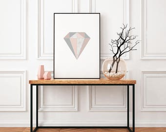 Diamond graphic print, gift for her, wall print, framed print, home print, home decor, Wall art prints, A4 print
