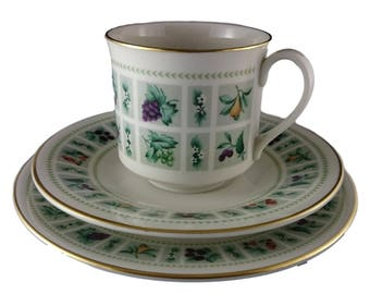 Tapestry design by Royal Doulton Tea Cup, Saucer and Side Plate Trio