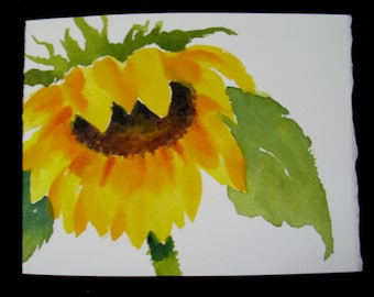 Sunflowers Watercolor Note Card, Handmade, Hand Painted, Blank Card