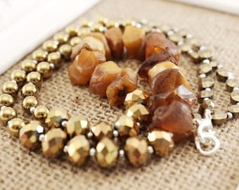 Natural stones necklace - hematites and amber